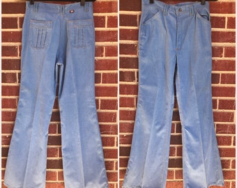 VINTAGE 70's Light Wash Distressed Bell Bottoms // Flares // Red Snap