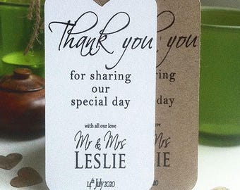 Thank You For Sharing Our Special Day Personalised Wedding Card Favour Tags - Contemporary Plain Sm H