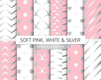 Soft Pink, White & Silver digital paper, silver, pastel pink and silver, white and silver, scrapbook papers (Instant Download)