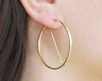 ON SALE NOW Large Gold Hoops, Gifts Under 20, Earrings Under 20, Modern Earrings, Minimal Hoops, Hoop Earrings, Unusual Hoop Earrings, Geome