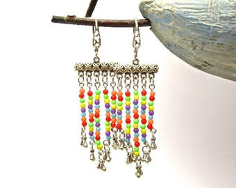 Very colorful seed beads earrings
