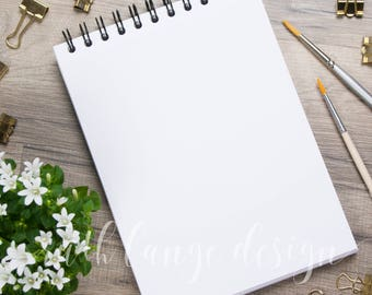 White Flower styled stock photo, flat lay background for Hand-Lettering