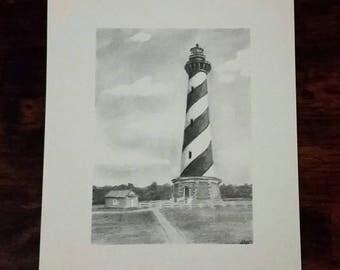 Hatteras lighthouse - lighthouse print - Hatteras print - lighthouse art - lighthouse decor - outer banks art