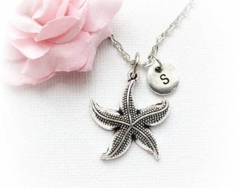 VACATION SALE Silver starfish necklace, starfish jewellery, starfish jewelry, seaside necklace,ocean necklace, beach jewellery, beach pendan