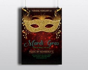 Mardi Gras Party Flyer Template | Mardi Gras Invitation, Mardi Gras Carnival  Flyer | MS Word  Template | Instant download