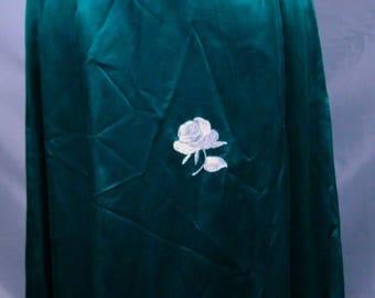 Green Silk Satin 1940/1950 Long Dress with Side Slit