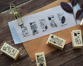 Plants Stamp Set, Poem Stamps, Leaf Stamps, Vintage Wooden Rubber Stamps, Diary Stamp Set