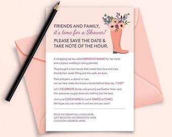 Rhyming Rain Boot Bridal Shower Digital/Printable Invitation (for New Home)