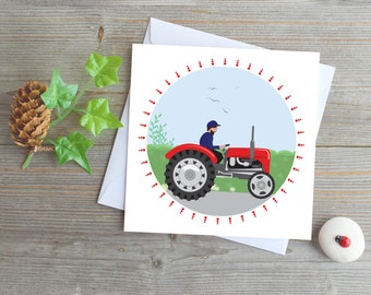 red tractor greeting card vintage tractor England country scene farmer tractor card countryside rush hour farming card boys card for a man
