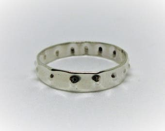 Handmade Punch textured Silver Band Ring
