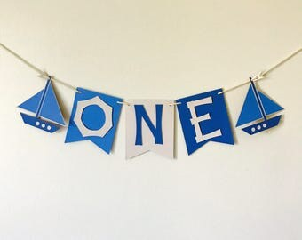 Sail Boat High Chair Banner, Nautical 1st Birthday Banner, I am ONE, Blue First Birthday Party Decoration