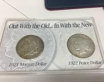 1921 Morgan dollar 1922 peace dollar