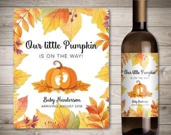 Custom Thanksgiving Pregnancy Announcement - Thanksgiving Pregnancy Reveal - Pregnancy Wine Label - Holiday Pregnancy Reveal Wine Label