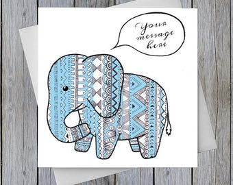 Elephant Personalised Greetings Card