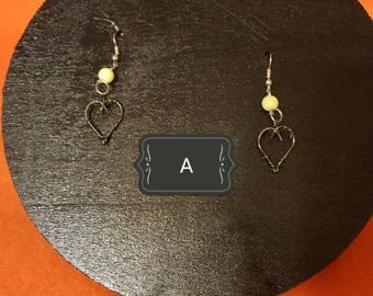 Fishing heart earrings