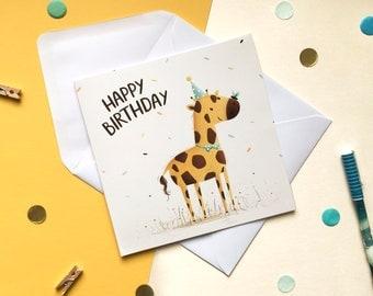 Giraffe Birthday Card - Giraffe Card - Happy Birthday Card - Animal Card - Cute Giraffe Card - Giraffe gift - Children's Card