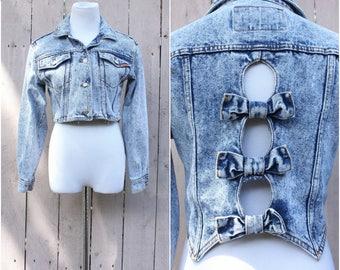 Vintage 1980's Women's Jordache Cutout Bow Back Acid Wash Denim Jacket, Cropped Jean Jacket, Size - Small