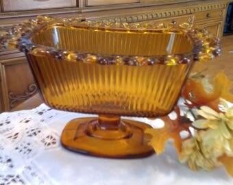 Indiana Glass, Vintage Glass, Wedding Box, Amber Compote, Open Lace Compote, 1960's, Amber Glass Compote, Candy Dish, Pedestal Candy Dish