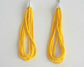 Yellow tassel earrings, beaded tassel earrings, long earrings, long tassel earrings, Yellow beaded earrings