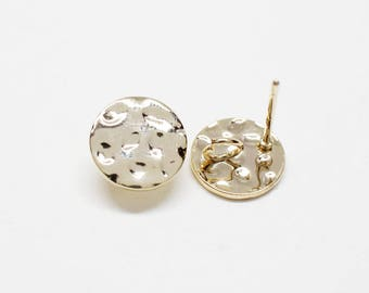 E0165/Anti-Tarnished Gold Plating Over Brass /Rough Circle Stud Earrings/10mm/2pcs