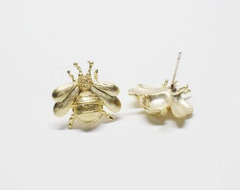 E0174/Anti-tarnished Matte Gold Plating Over Brass/Bee Stud Earrings/17.5x17.5mm/2pcs