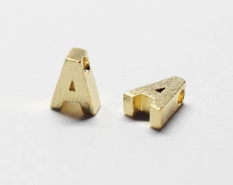 P0721/Anti-Tarnished Gold Plating Over Brass /Brushed Mini Alphabet Charm/6x6.8mm/2pcs