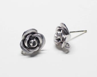 E0220/Anti-Tarnished Matte Rhodium Plating Over Brass +Sterling Silver Post/Rose Stud Earrings/10x11mm(include ring)/2pcs