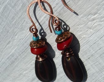 brown natural earrings, copper wired earrings, tribal earrings, burgundy, rustic earrings, ethnic earrings, nature jewelry,