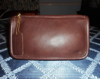 "VINTAGE COACH BROWN 7165 Chunky Make up Pouch 7"" X 4"" X 1"" W/Hang Tag"