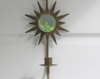 Vintage Solid Brass Sunburst Mirror Candle Wall Sconce