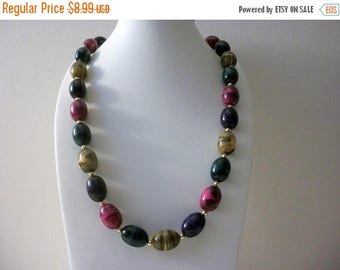 ON SALE Retro Variegated Plastic Beads Gold Tone Spacers Long Necklace 72717