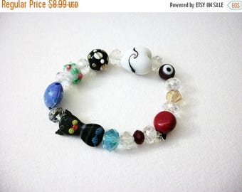 ON SALE Retro Hand Made Italian Murano Glass Lamp Work Beads Stretch Bracelet 71116