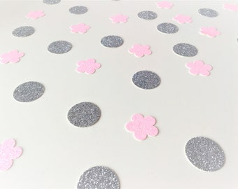 Pink Flower and Silver Circle Confetti. Pink and Silver Glitter Mix. First Birthday. Princess Party. Party Decor. Baby Shower. Gender Reveal