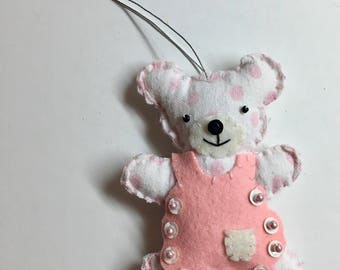 Pink Polka Dot Repurposed Baby Blanket Bear with Apron Handmade Ornament