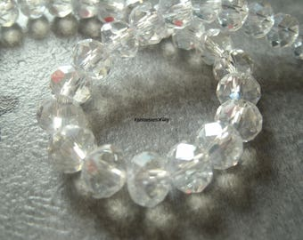(PF810) Set of 20 faceted Crystal 8mm transparent effect glass beads