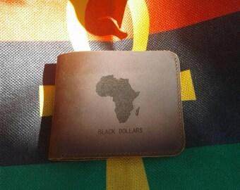 Leather Black Dollars Africa Wallet