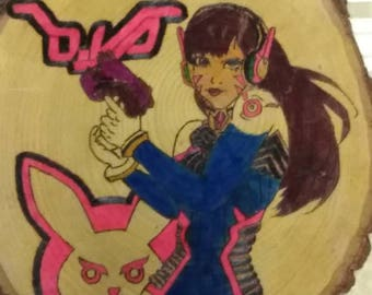 DVa from overwatch woodburned piece