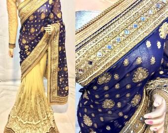 Indian Saree Sari Half & Half designer Heavy Zari, Stone and Patch Work Gorgeous party wear saree for ethnic wedding