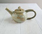 One Cup Teapot - Handmade Teapot - Stoneware  - Rustic Teapot - Yellow Ocher - Ready to Ship - FREE UK SHIPPING
