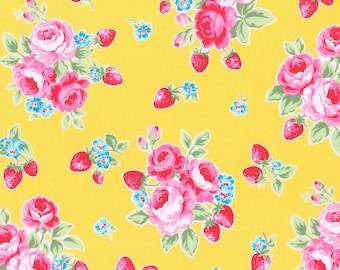 1/2 yard Lecien Japan Flower Sugar Berry Fall 2017 Collection |  Yellow Floral Strawberries # 31512L-50