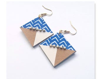 Earring pendant with geometric graphic Blue, decorated with ivory rhinestone