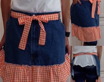 SALE Denim half apron cotton orange gingham check ruffle cotton orange gingham ties long waist ties dark blue denim apron repurposed denim