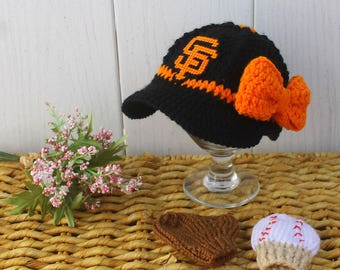 Girls Baseball Hat with Glove and Ball Mittens, baby girl baseball MITTENS, GIANTS inspired (Handmade by me and not affiliated with the MLB)