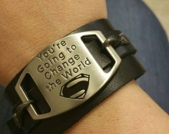 Superman You're Going to Change the World black leather cuff bracelet-one of a kind-