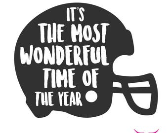 It's The Most Wonderful Time of The Year SVG cut file for Cricut or other cutting machine, Football SVG, Football Helmet SVG