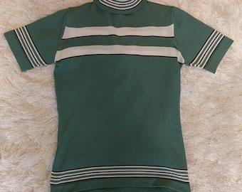 Vintage Green Short Sleeved Turtleneck Striped Zip Up