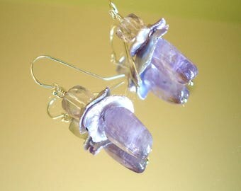 Double Pale Purple Amethyst and Lavender Cornflake Pearl Short, Dangle Earrings