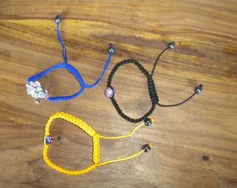 Yellow, blue and black shambala bracelet