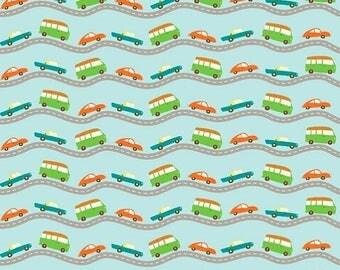 SALE Wheels 2 Roads in Blue from My Mind's Eye by Deena Rutter for Riley Blake Designs