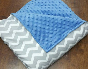 Cozy Weighted Blanket - Grey Chevron and Soft Minky- custom weighted